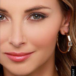 Lulu's Gold Rhinestone Hoop Earrings